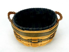 """8"""" Round Longaberger Basket w/Cloth Liner, Leather Handles 1998 Collecto... - $39.15"""