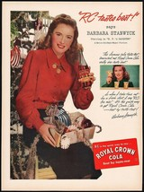 Vintage magazine ad ROYAL CROWN COLA from 1947 Barbara Stanwyck in B Fs Daughter - $13.49