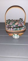 Longaberger 1998 Small Easter Basket, Egg Fabric Liner, Tie On and Prote... - $19.99