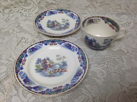 Vintage, England, Parrot Patern,Gaudy Blue Willow Trio Cup, Saucer n Bre... - $42.70