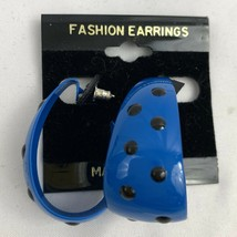 Vintage Blue Polka Dot Hoop Dangle Earrings Funky Enamel Black Dots NOS ... - $17.77