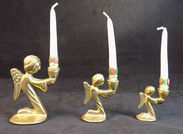 """CHRISTMAS ANGEL BRASS CANDLE HOLDERS 1.5"""", 2"""" and 3"""" Tall 3 Small NOEL A... - $23.75"""