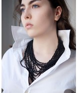 Black beads necklace, seed bead necklace, layering necklace, beaded neck... - $32.30