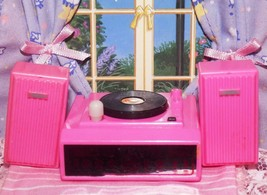 Barbie Vintage Wind Up Record Player fits Fisher Price loving family dollhouse - $10.99