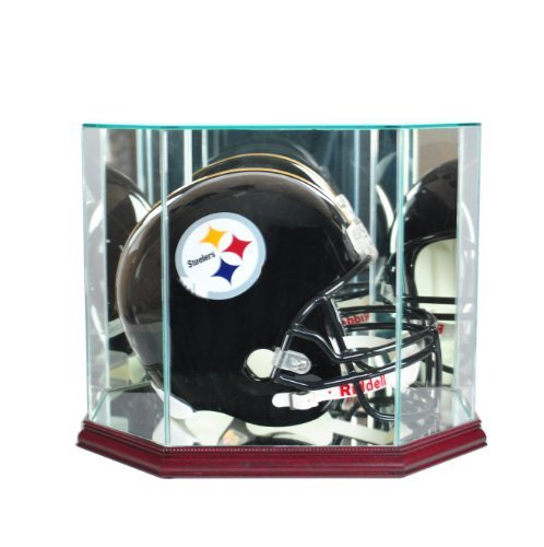 Perfect Cases NFL Octagon Full Size Football Helmet Glass Display Case, Cherry