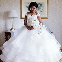 New Ball Gown Wedding Dress Formal White Tulle Lace Crystal Bridal Gowns... - $130.91