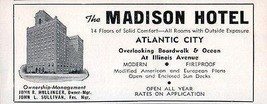 Madison Hotel Atlantic City NJ Overlooks Boardwalk Ocean 1956 Travel Tou... - $10.99