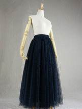 Navy Polka Dot Tulle Skirt Navy Long Tulle Skirt Wedding Guest Outfit image 2