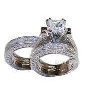 6ct Vintage Style 3 Piece Cz Wedding Ring Set Solid 925 Sterling Silver - $69.99