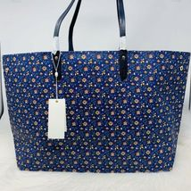 Tory Burch NWT Kerrington Square Tote Leather Blue Wild Pansy $298 Shoulder Bag image 8