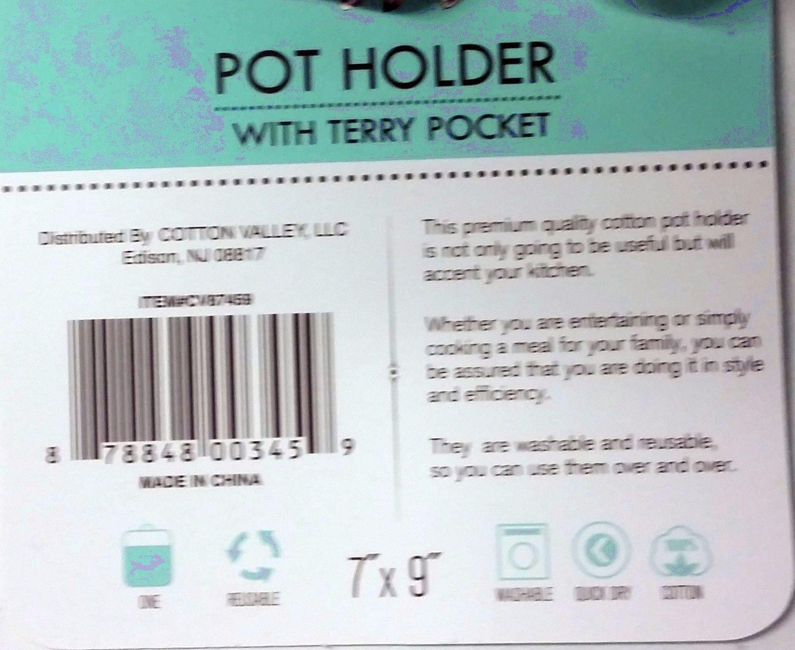 "BLACK /& WHITE ROOSTER 7/"" x 9/"" CV 1 Jumbo Printed Pot Holder w// Terry Pocket"