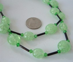 Vintage 2 Strand Plastic Cracked Ice Bead Necklace Black and Green  W Ge... - $19.75