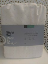 Dotted Print Easy Care Sheet Set White/Gray -FULL-Made By Design BRAND NEW  image 2