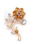 Mid-Century Amber & Clear Flower Foil Back Rhinestone Brooch - $31.04
