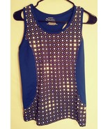 Women's Tek Gear blue/black,white sleeveless support bra athletic top - $2.99