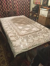 Vintage Gorgeous White Floral Lace Tablecloth 50 x 70 inches Rectangular... - $12.87