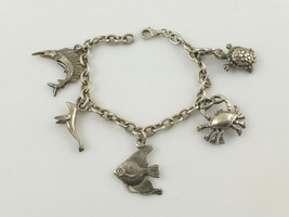 Nautical Beach Animal Charms Bracelet In Sterling Silver - 7 Inches - Free Ship - $90.00