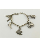 Nautical Beach Animal CHARMS BRACELET in Sterling Silver - 7 inches - FR... - $90.00