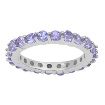 Natural Tanzanite Eternity Band Stacking Stackable Wedding Gift Ring 925... - $36.45