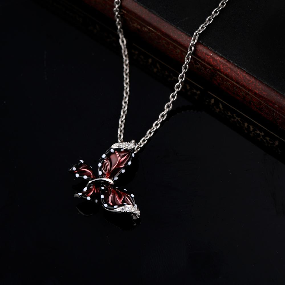 Women Red Butterfly Slide Necklaces Pendant 925 Sterling Silver Fashion Jewelry image 6