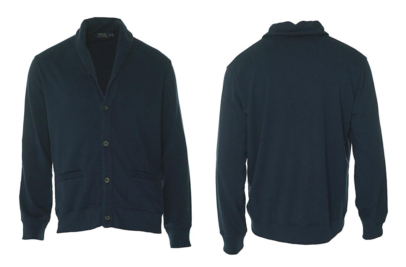 $165 Polo Ralph Lauren Mens Fleece Cardigan Button-Down Shirt, Navy, L.