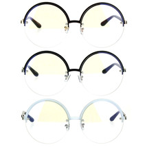 Womens Half Rim Exposed Lens Circle Round Clear Lens Hippie Eye Glasses - $12.95