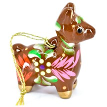Handcrafted Painted Ceramic Brown Llama Confetti Ornament Made in Peru image 2