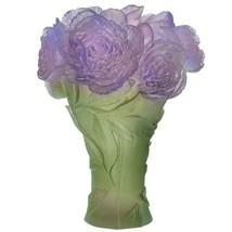 Daum Crystal French Deep green purple vase Peony 5153 - $6,831.00