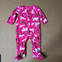 Carter's Baby Girl Pink Animal Footed Fleece Suit Penguins Bears Moose 6 Months - $6.79