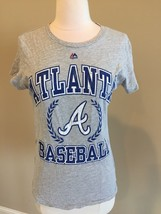 Atlanta Braves Shirt Gray Graphic Tee Short Sleeve Womens Fits like Small - $7.99