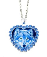 "Blue Rhinestone Blue Wolf  Heart  20"" Chain Glass Cabochon Pendant Necklace - $15.83"