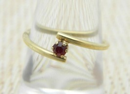 AVON Gold Tone Red Rhinestone Dainty Ring Adjustable Size 7.25 Vintage - $13.86