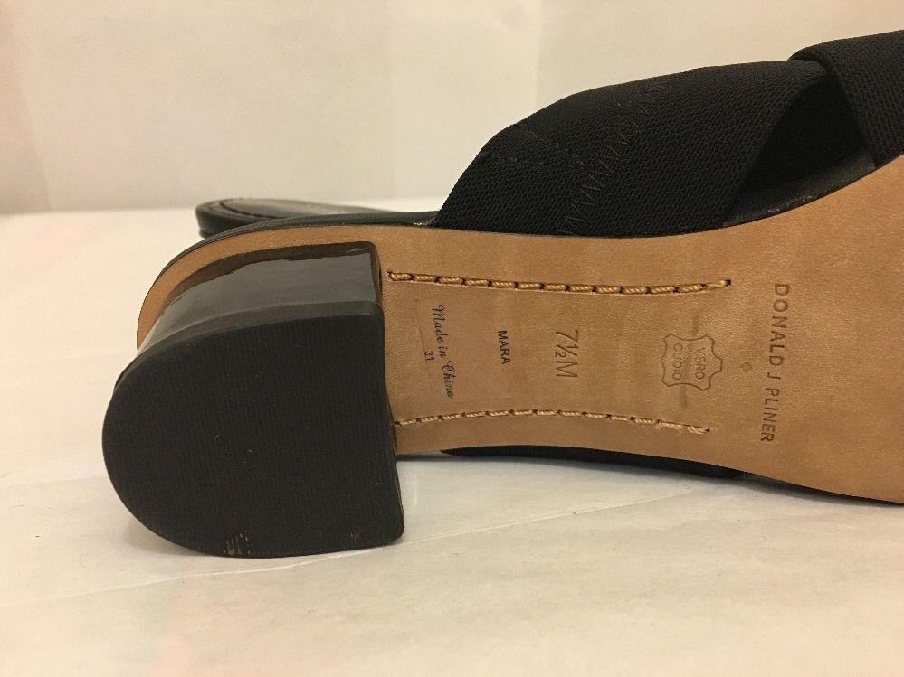 Donald J Pliner Mara Black Patent Stretch Women's Slip On Heels Sandals Size 7.5