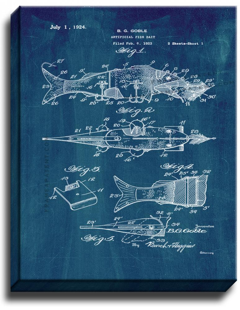 Primary image for Artificial Fish Bait Patent Print Midnight Blue on Canvas