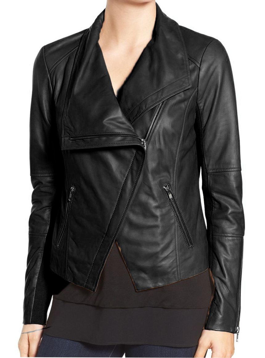 Women black wide collar leather jacket fashion zipper women leather jacket3