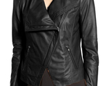 Women black wide collar leather jacket fashion zipper women leather jacket3 thumb155 crop