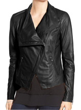 Women black wide collar leather jacket fashion zipper women leather jacket3 thumb200