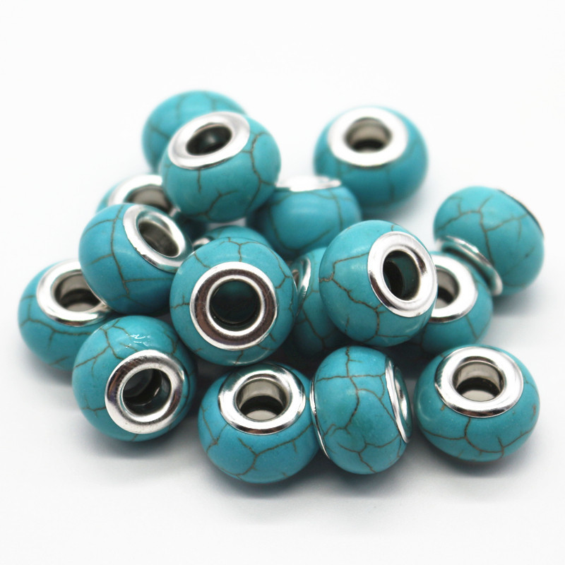 Primary image for Charms 30pcs/lot Blue/White Color Choose 14MM Turquoise Big Hole Fit European Pa