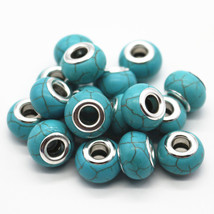 Charms 30pcs/lot Blue/White Color Choose 14MM Turquoise Big Hole Fit Eur... - $25.99