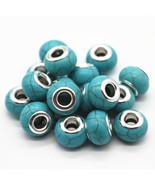 Charms 30pcs/lot Blue/White Color Choose 14MM Turquoise Big Hole Fit Eur... - $25.99