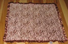 Vitamins Baby Girl Blanket Pink Brown Fleece Minky Zebra Animal Ruffle Satin - $29.29