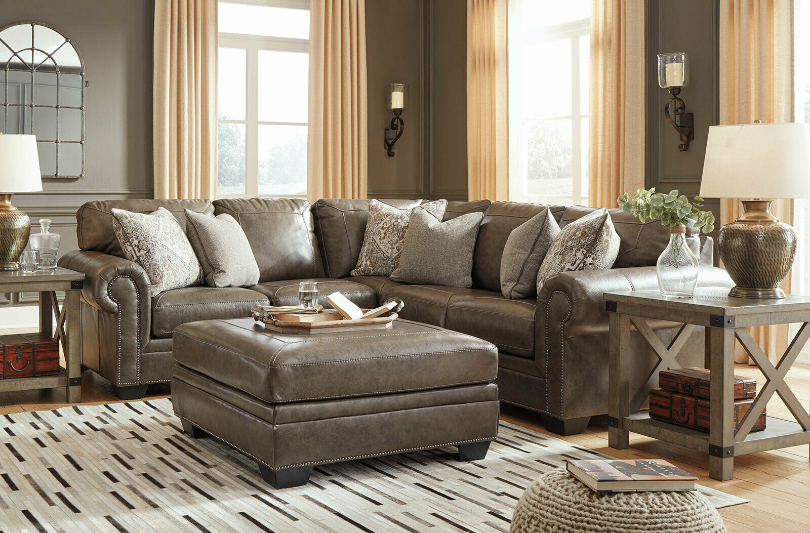 NEW Traditional Sectional Living Room Taupe Brown Leather ...