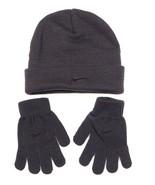 Nike Dark Gray Knit Cuff Beanie & Stretch Gloves Youth Boys 4-7 NWT - $22.27