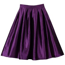Women Pink Full Pleated Party Skirt A Line High Waist Knee Length Taffeta Skirt  image 10