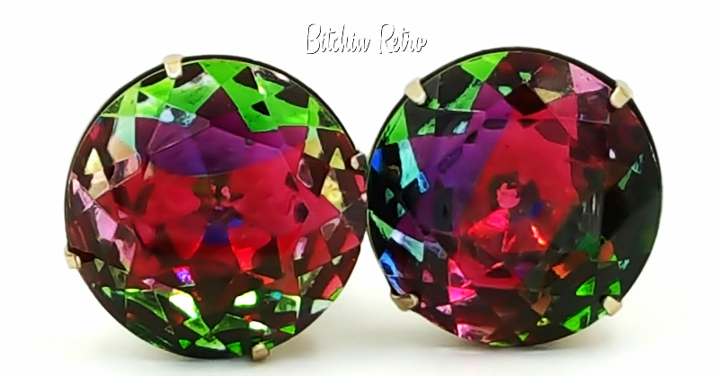 Primary image for Vintage Rainbow Vitrail Rhinestone Earrings  Stunning 1 Inch Rounds