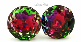 Vintage Rainbow Vitrail Rhinestone Earrings  Stunning 1 Inch Rounds  - £64.15 GBP