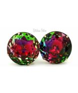 Vintage Rainbow Vitrail Rhinestone Earrings  Stunning 1 Inch Rounds  - $84.00