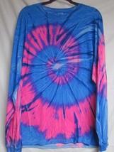 Long Sleeve Pink & Blue Swirl Tie Dye T-SHIRT Mens Womens Size Xl - $15.99