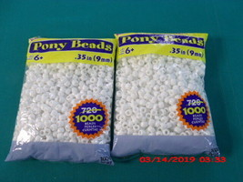 2- PACK- 1000 COUNT PONY BEADS, WHITE OPAQUE, GREAT CRAFT PROJECTS FOR ... - $13.10