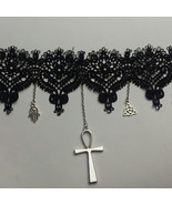 Black Lace Choker with Hanging Charms - $26.00